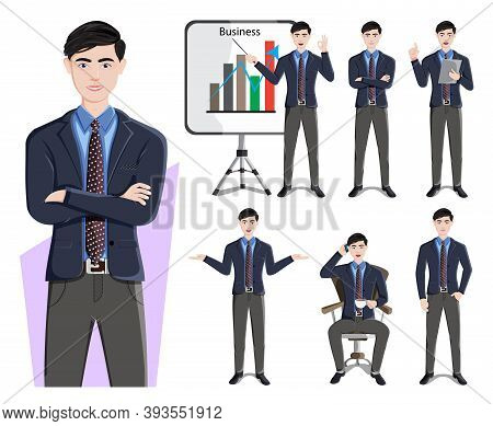Businessman Character Vector Set. Business Man Characters In Demo Presentation Pose And Gestures For