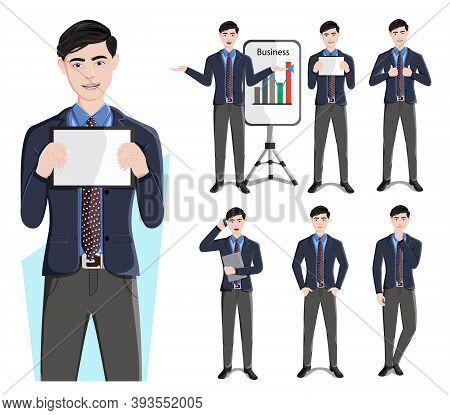 Businessman Characters Vector Set. Business Man Male Character In Standing Pose And Gestures For Sal