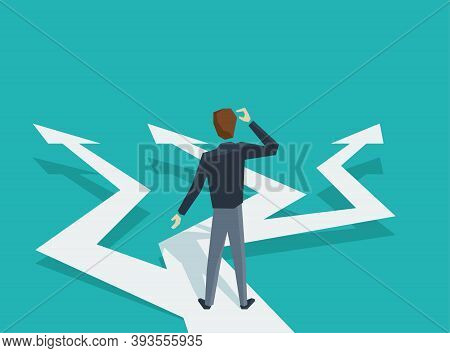 Man In Low Poly Style At Crossroads Before Important Choice (correct Decision Choosing) - Vector Ill