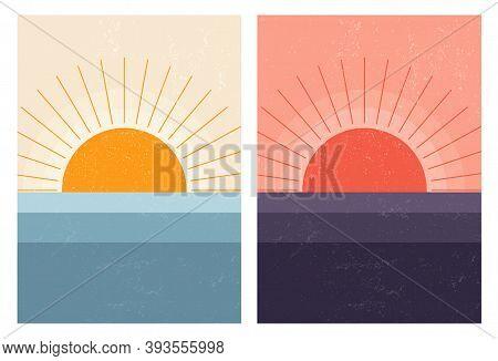 Sunset Sunrise In Sea. Abstract Mid-century Modern Scandinavian Landscape. Minimal Art Nature Backgr