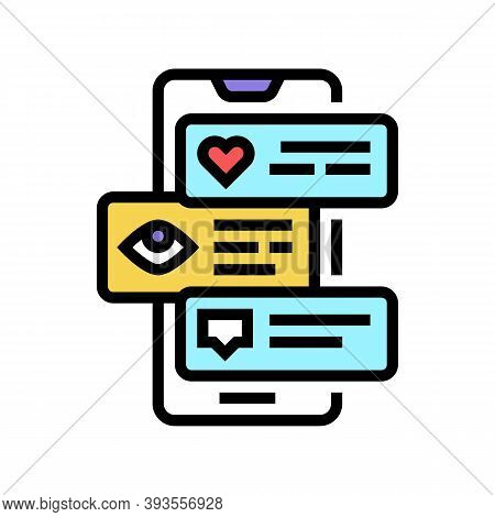 Smm Like View And Comment Phone Screen Color Icon Vector. Smm Like View And Comment Phone Screen Sig