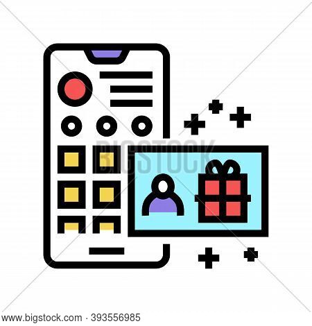 Draw Among Subscribers Color Icon Vector. Draw Among Subscribers Sign. Isolated Symbol Illustration