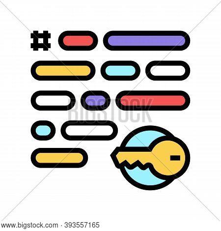 Keywording Keys For Search Social Page Image Color Icon Vector. Keywording Keys For Search Social Pa
