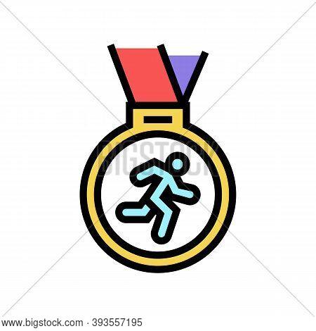 Medal Runner Award Color Icon Vector. Medal Runner Award Sign. Isolated Symbol Illustration