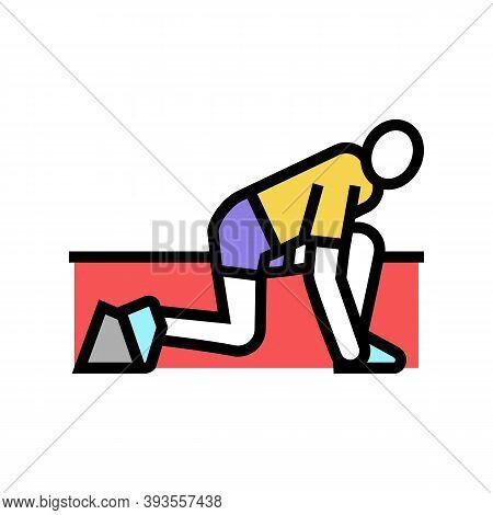 Runner Start Color Icon Vector. Runner Start Sign. Isolated Symbol Illustration