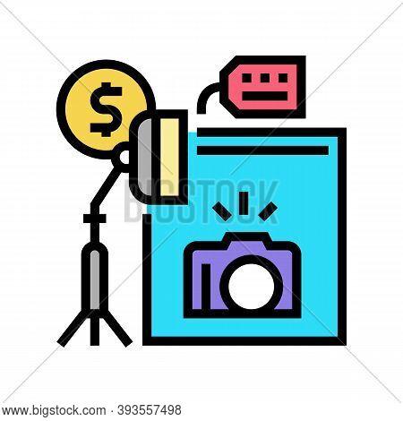 Photo Camera And Studio Rental Color Icon Vector. Photo Camera And Studio Rental Sign. Isolated Symb