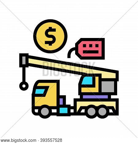 Crane Rental Color Icon Vector. Crane Rental Sign. Isolated Symbol Illustration