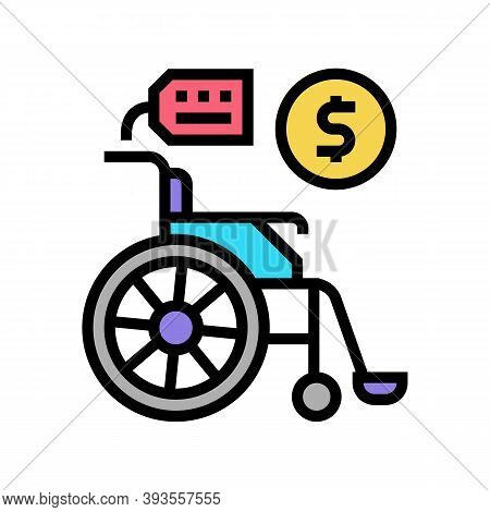 Wheel Chair Rental Color Icon Vector. Wheel Chair Rental Sign. Isolated Symbol Illustration