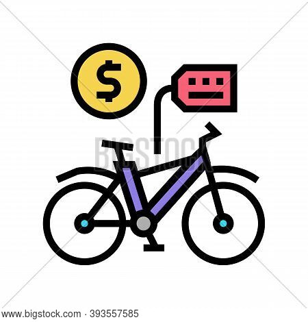 Bicycle Rental Color Icon Vector. Bicycle Rental Sign. Isolated Symbol Illustration