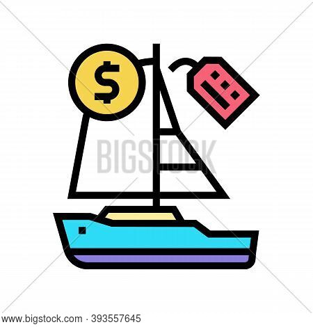 Boat Rental Color Icon Vector. Boat Rental Sign. Isolated Symbol Illustration