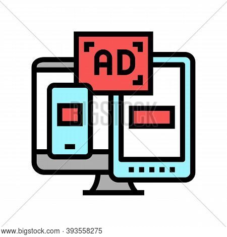 Ad On Computer Phone And Tablet Display Color Icon Vector. Ad On Computer Phone And Tablet Display S