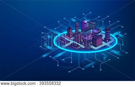 Smart City Technology Concept. Futuristic Buildings With Digital Communications, Intelligent City Ma