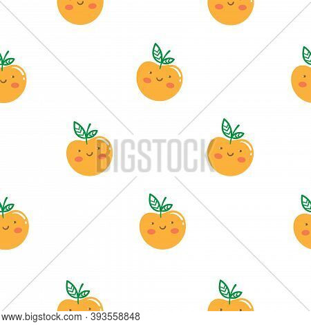 Seamless Pattern With Cute Cartoon Apples On  White Background. Funny Anthropomorphic Fruits. Fruit