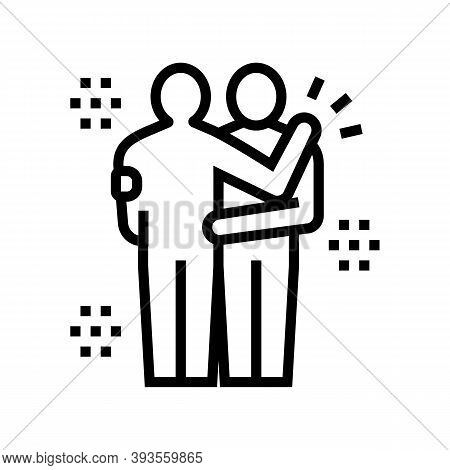 Human Hugs Line Icon Vector. Human Hugs Sign. Isolated Contour Symbol Black Illustration