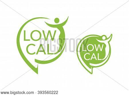Low Cal Stamp - Combination Of Pin Mark And Abstract Woman Silhouette - Pictogram For Dietary Low-ca