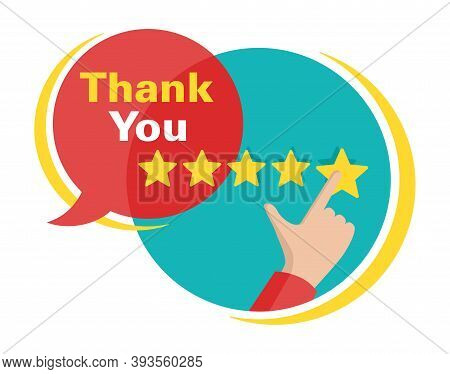 Thank You For 5 Stars Rated Feedback In Bubble Form - Maximum Saticfaction Positive Review Illustrat