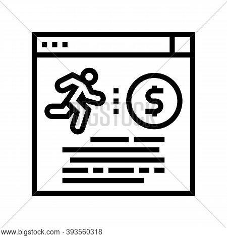 Runner Money Award Line Icon Vector. Runner Money Award Sign. Isolated Contour Symbol Black Illustra