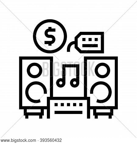 Music Device Rental Line Icon Vector. Music Device Rental Sign. Isolated Contour Symbol Black Illust