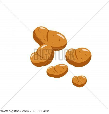 Potato Tubers On White Isolated Background. Vector Illustration. For Logos And Icons, Farms And Mark