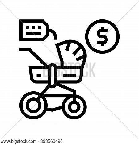 Stroller Rental Line Icon Vector. Stroller Rental Sign. Isolated Contour Symbol Black Illustration