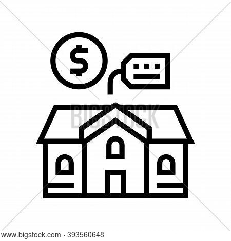 House Building Rental Line Icon Vector. House Building Rental Sign. Isolated Contour Symbol Black Il