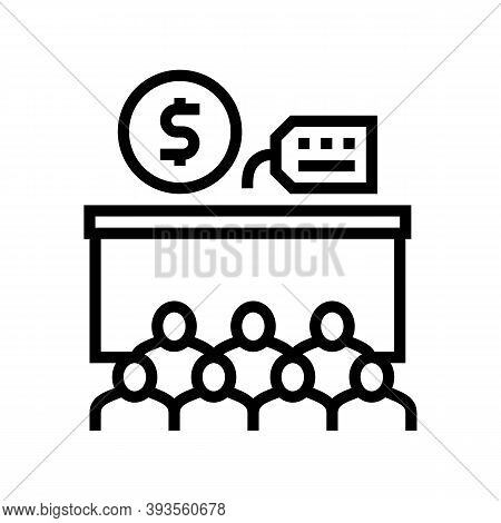 Conference Room Rental Line Icon Vector. Conference Room Rental Sign. Isolated Contour Symbol Black