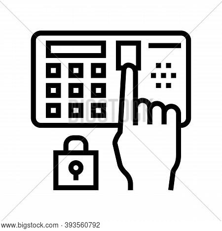 Password Entry Safe Device Line Icon Vector. Password Entry Safe Device Sign. Isolated Contour Symbo