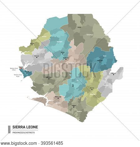 Sierra Leone Higt Detailed Map With Subdivisions. Administrative Map Of Sierra Leone With Districts