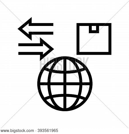 World Import And Export Line Icon Vector. World Import And Export Sign. Isolated Contour Symbol Blac