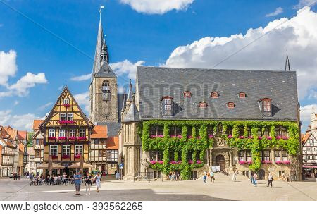Quedlinburg, Germany - July 03, 2020: Historic City Hall Building At The Central Market Square Of Qu