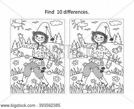 Find 10 Differences Visual Puzzle And Coloring Page With Petrushka Folklore Rag Doll Walking Outdoor