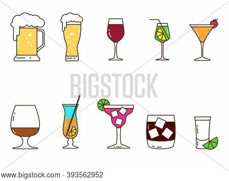 Set Of Colored Icons Of Alcoholic Drinks And Utensils From Which They Are Consumed. Vector Illustrat