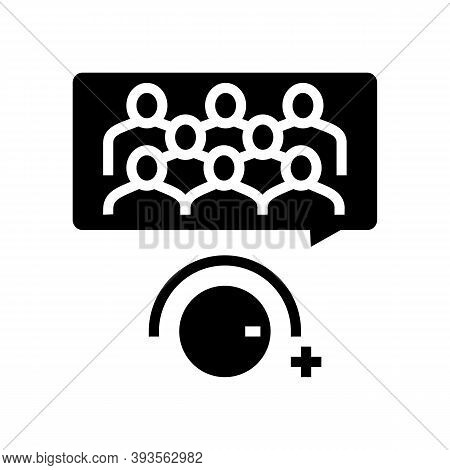 Winding Up Subscribers Glyph Icon Vector. Winding Up Subscribers Sign. Isolated Contour Symbol Black