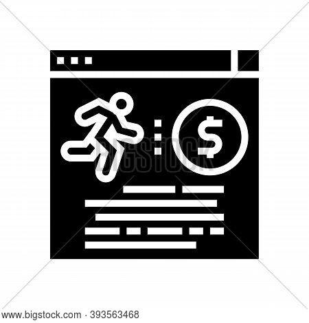 Runner Money Award Glyph Icon Vector. Runner Money Award Sign. Isolated Contour Symbol Black Illustr