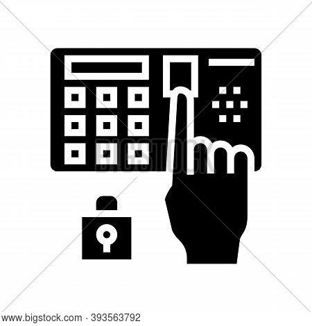 Password Entry Safe Device Glyph Icon Vector. Password Entry Safe Device Sign. Isolated Contour Symb