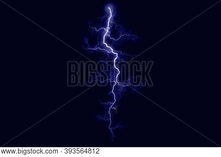 Powerful Electrical Discharge Striking From Side To Side Realistic Illustration Isolated On Black Tr