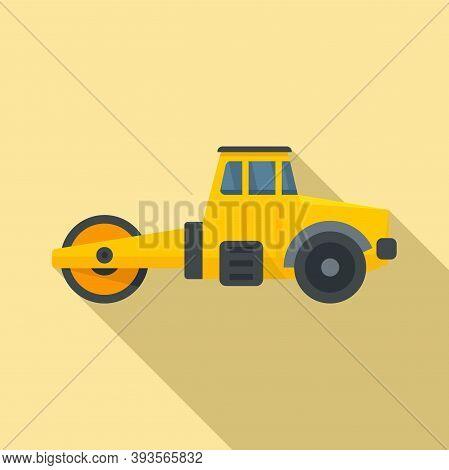 Maintenance Road Roller Icon. Flat Illustration Of Maintenance Road Roller Vector Icon For Web Desig