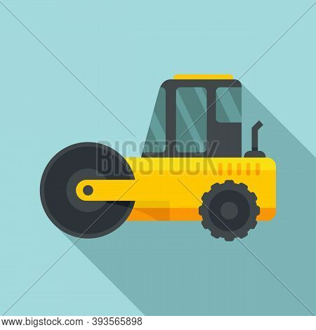 Heavy Road Roller Icon. Flat Illustration Of Heavy Road Roller Vector Icon For Web Design