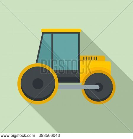 Paving Road Roller Icon. Flat Illustration Of Paving Road Roller Vector Icon For Web Design