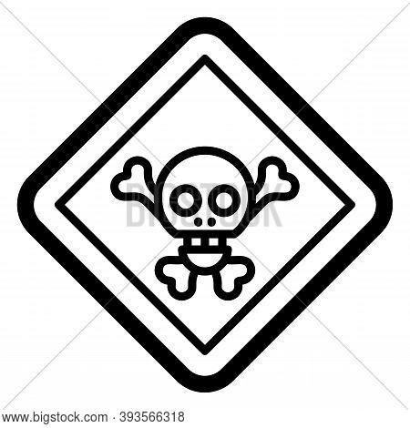 Black Line Icon For Danger Menace Peril Jeopardy Doubt Pitfall Skull Skeleton Bone Halloween Warning