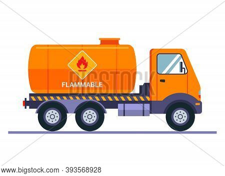 Orange Tanker Truck Carries Gasoline. The Inscription Caution Is Flammable. Transportation Of Liquid