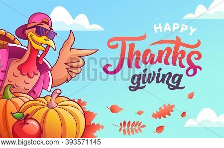 Happy Thanksgiving. Banner With Turkey, Vegetables And Autumn Leaves And Lettering. Cool Stylish Tur