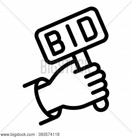 Bidder Hand Icon. Outline Bidder Hand Vector Icon For Web Design Isolated On White Background