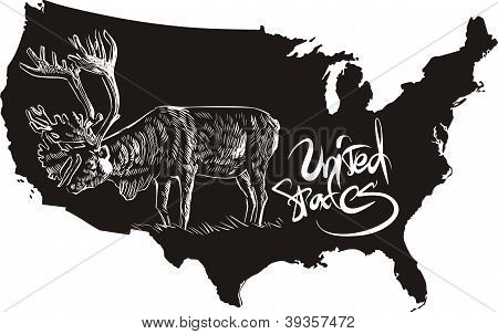 Caribou And U.s. Outline Map