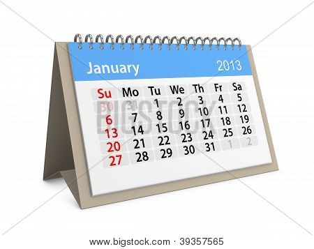 Monthly Calendar For New Year 2013. January