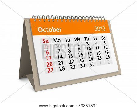 Monthly Calendar For New Year 2013. October