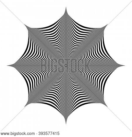 Abstract geometric design element. Op art striped lines pattern. 3D illusion.