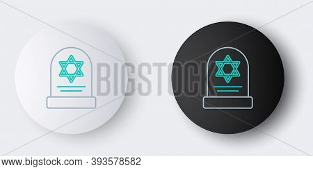 Line Tombstone With Star Of David Icon Isolated On Grey Background. Jewish Grave Stone. Gravestone I