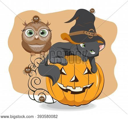 Halloween Wink Black Cat In Witch Hat. Owl And Spider On Pumpkin, Picture In Hand Drawing Cartoon St