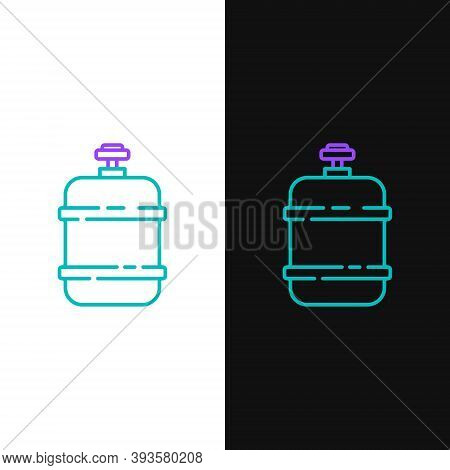 Line Propane Gas Tank Icon Isolated On White And Black Background. Flammable Gas Tank Icon. Colorful